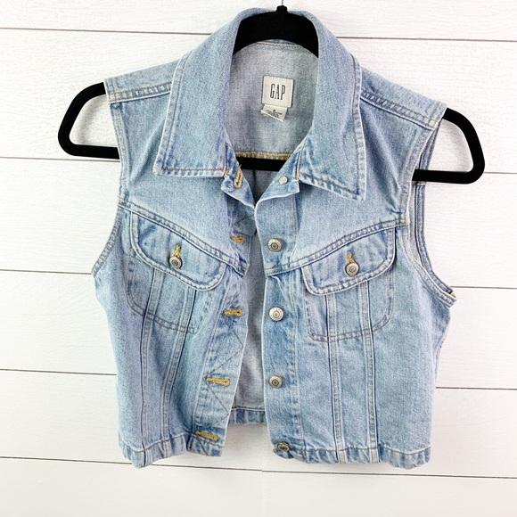 GAP Jackets & Blazers - Vintage Gap Blue Denim Vest Size Small